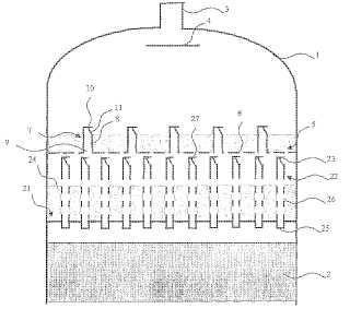 Dispositivo para la mezcla y la distribución de un gas y de un líquido aguas arriba de un lecho granular.