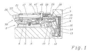 Bisagra provista de un dispositivo de apertura y cierre automático para una puerta de mueble.