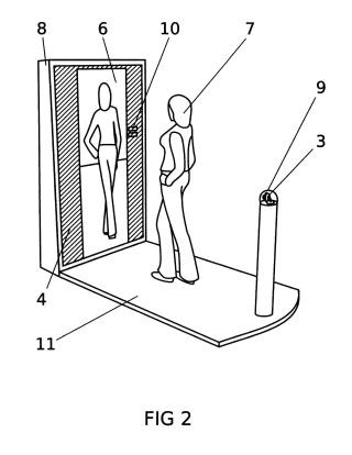Espejo con pantalla para la visión trasera de cuerpo entero del usuario.