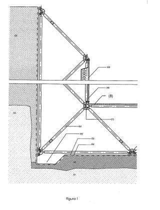 Sistema constructivo de muro de contención y de carga estanco mediante malla estérea y paneles prefabricados.