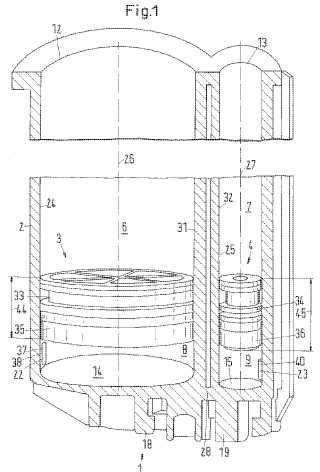 Cartucho de varios componentes con un dispositivo de ventilación.