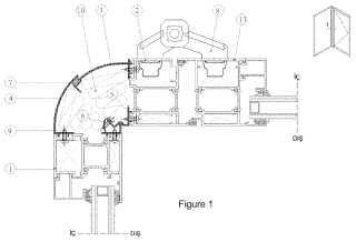 Sistema de puertas y ventanas con aislamiento térmico de rotación angular ajustable sin perfiles de ruptura térmica.