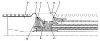 Procedimiento y dispositivo para fabricar un tubo termoplástico de doble pared con un manguito de acoplamiento.