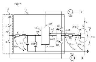 Dispositivo de control de un transistor de potencia.