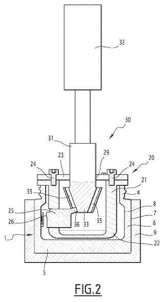 Dispositivo y procesos de fabricación de un artículo de vidrio hueco.