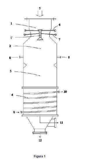Procedimiento para el acondicionamiento de una corriente de gas proveniente de un gasificador, craqueo termico de alquitranes y reformado con vapor y reactor empleado.