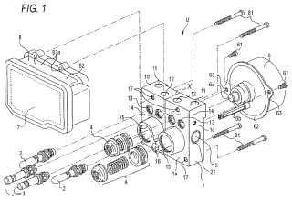 Unidad de control de presión hidráulica para frenos de vehículos.