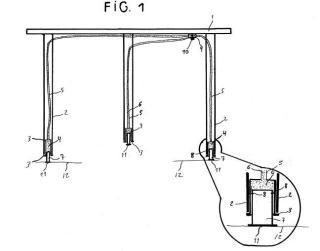 Sistema de regulación de longitud de las patas de una mesa.