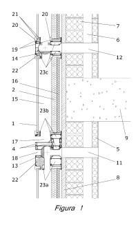 Módulo colector solar pasivo para envolventes de edificación.
