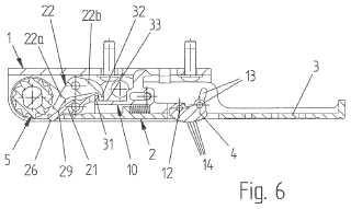 Dispositivo de trinquete para tensar objetos bobinables.