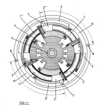 Motor rotatorio de combustión interna o, alternativamente, neumático, con cámaras de presión y pistones curvados integrados en dos rotores, de movimiento circular por impulsos, en secuencia alternativa.