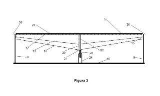 Sistema de soporte de espejos longitudinales horizontales con apoyos de rodadura libre.