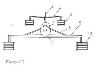 Aletas en brazo de palanca perpendicular para los extremos de las alas de un avión.