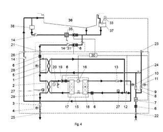 Sistema hidráulico para recuperar energía calorífica del agua de salida del vaso de la piscina.