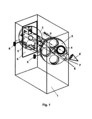 Caja para la medida de la amplitud de acomodación con lentes oftálmicas.