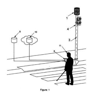 Señal de identificación de semáforos para visión computarizada.