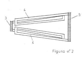 Engranaje-cono con varillas en forma de línea con dobleces sucesivas.