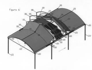 Máquina para la construcción y el mantenimiento de la cubierta en invernaderos multitúnel.