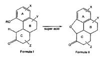 Procedimiento de preparación de hidrocodona mediante el uso de un super ácido.