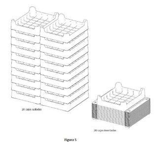 Caja de plástico termoconformada o inyectada con sistema de solapas o aletas abatibles para transformar la caja insertable en apilable.
