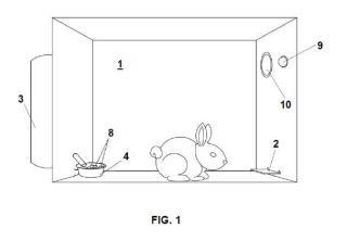 Caja de condicionamiento operante y aprendizaje instrumental para conejos.