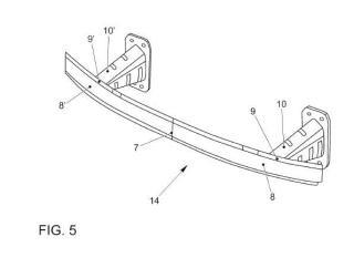 Traviesa parachoques de perfil asimétrico para un vehículo automóvil.