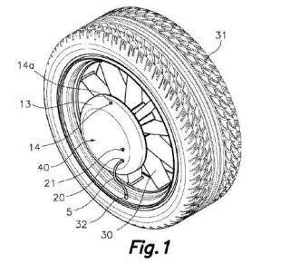 Dispositivo de presurización para un neumático montado en una rueda giratoria.