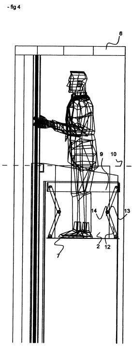 Sistema de techo con desplazamiento vertical para ascensor.