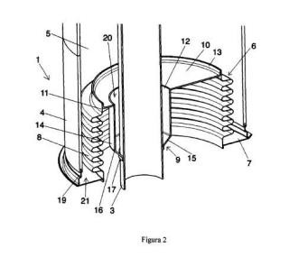 Dispositivo compensador de expansión con vaso posicionador.