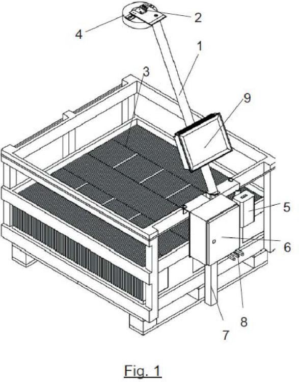 Sistema de visión artificial para el conteo de elementos planos dispuestos en un palé.