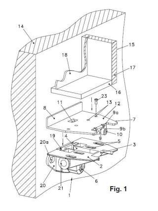 Soporte inferior nivelador para muebles de pared en voladizo.