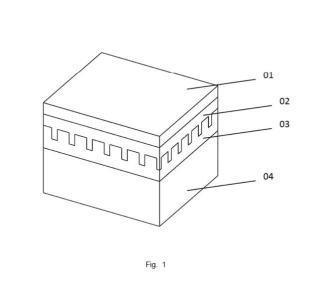 Dispositivo fotovoltaico de capa fina con estructura de cristal fotónico y comportamiento como sistema de confinamiento cuántico, y su procedimiento de fabricación.
