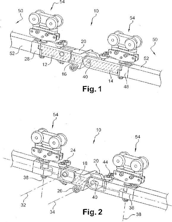 Enganche con órganos de sujeción integrados en la banda de rodadura de fricción, tren y transportador.
