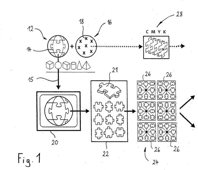Procedimiento para la fabricación automática de elementos individuales, cuya totalidad forma un cuerpo espacial decorado en la superficie.