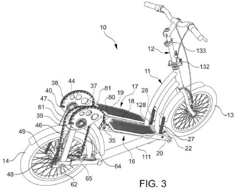 Vehículo de propulsión humana con mecanismo de transmisión accionado por los pies.