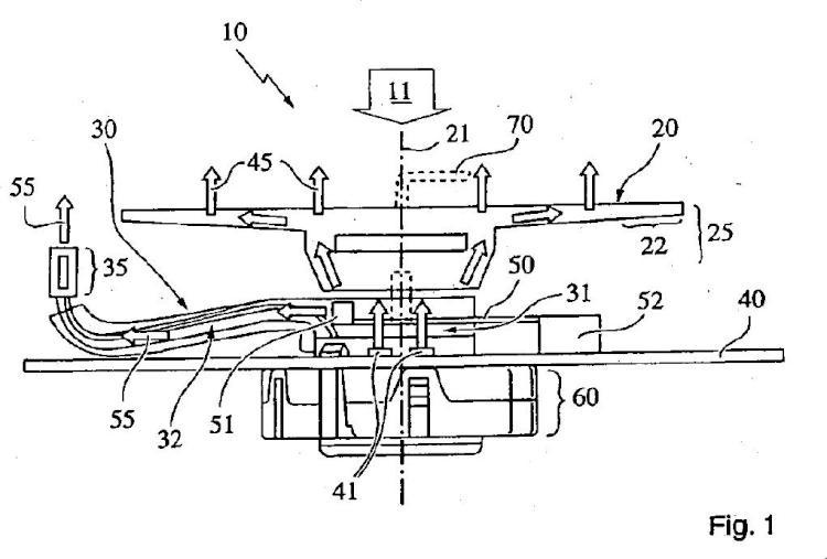 Dispositivo de visualización para un automóvil con una aguja indicadora basculante que posee una primera y/o una segunda área de guía de ondas ópticas.