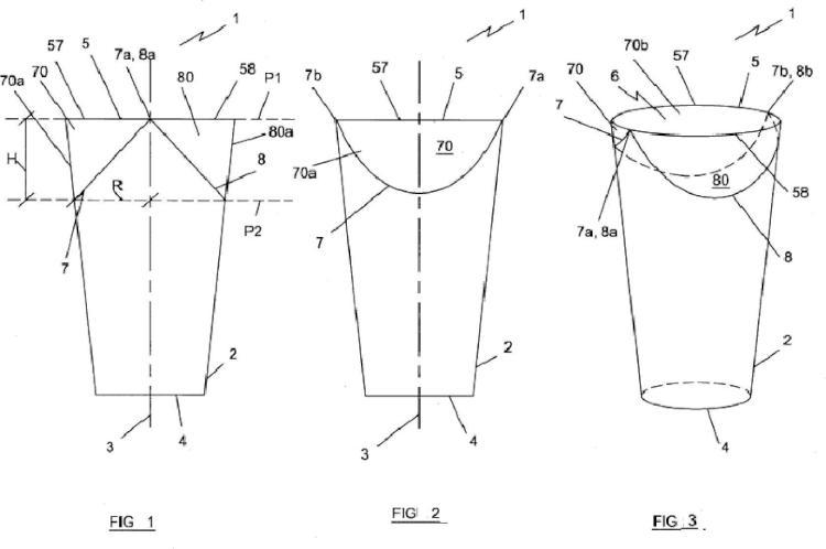 Un vaso con las alas de cierre integradas.