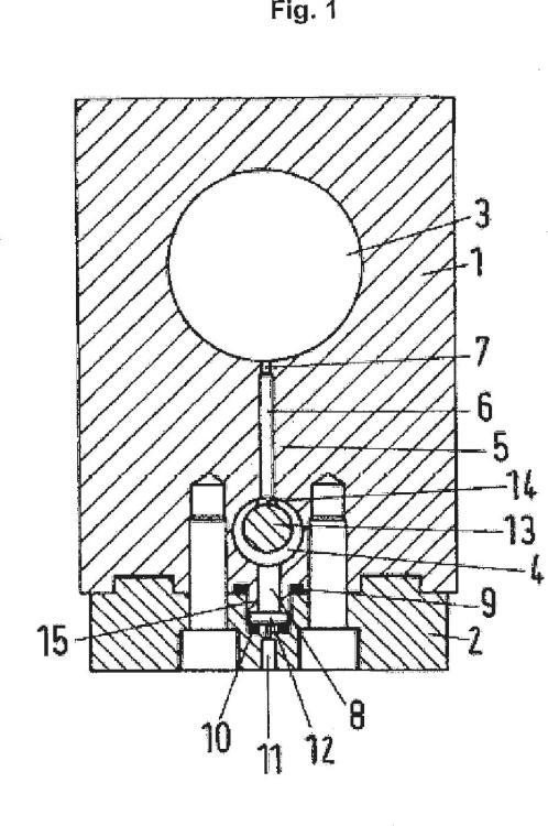 Barra con boquillas en un dispositivo para generar chorros de líquido.
