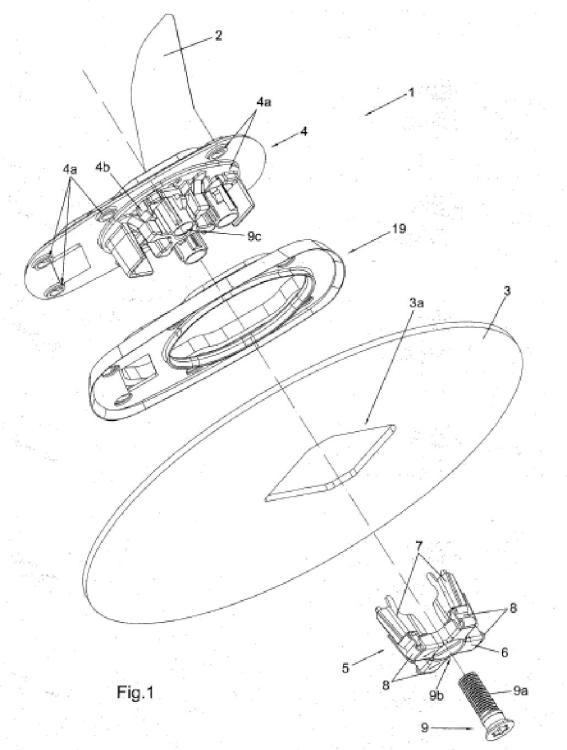 Unidad para fijación de una antena.