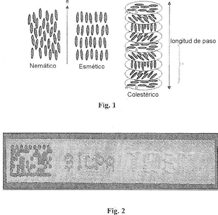Marcaje modificado a base de polímeros de cristales líquidos quirales.