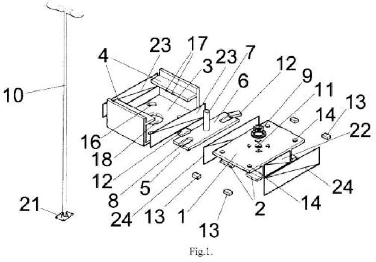 Base desmontable para elementos verticales de mobiliario urbano, mejorada.