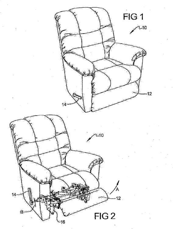 Elemento reposapiernas de una pieza de tres posiciones para un elemento de mobiliario.