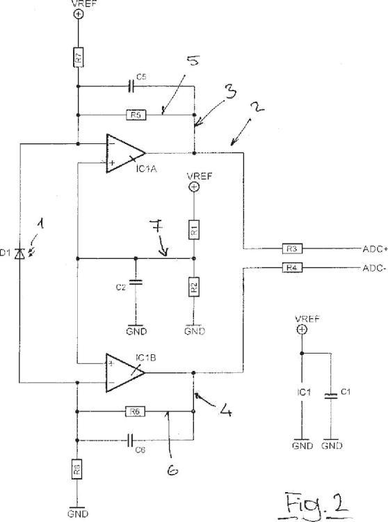 Disposición de circuito para evaluar mediciones fotoeléctricas.
