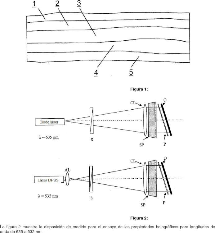 Estructura en capas con una capa protectora y una capa de fotopolímero expuesta a radiación.