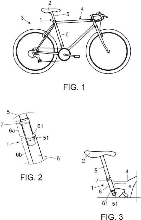 Acople telescópico para sillín de bicicleta con limitación de subida.