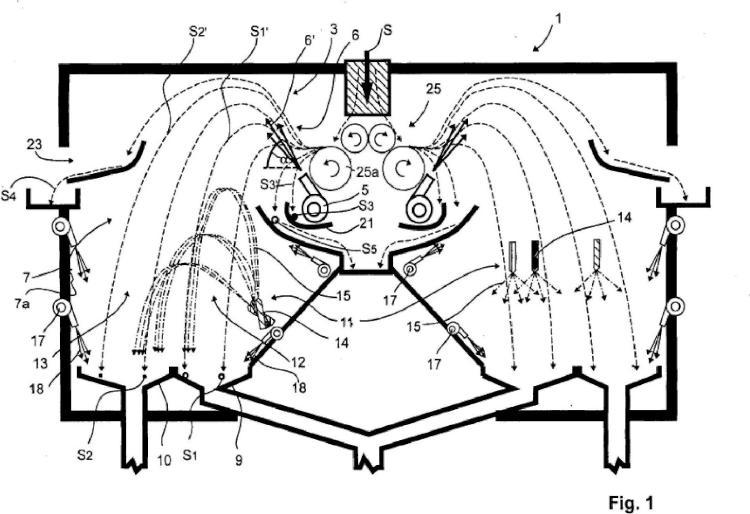 Dispositivo y procedimiento para la separación por aire y encolado de virutas de madera.