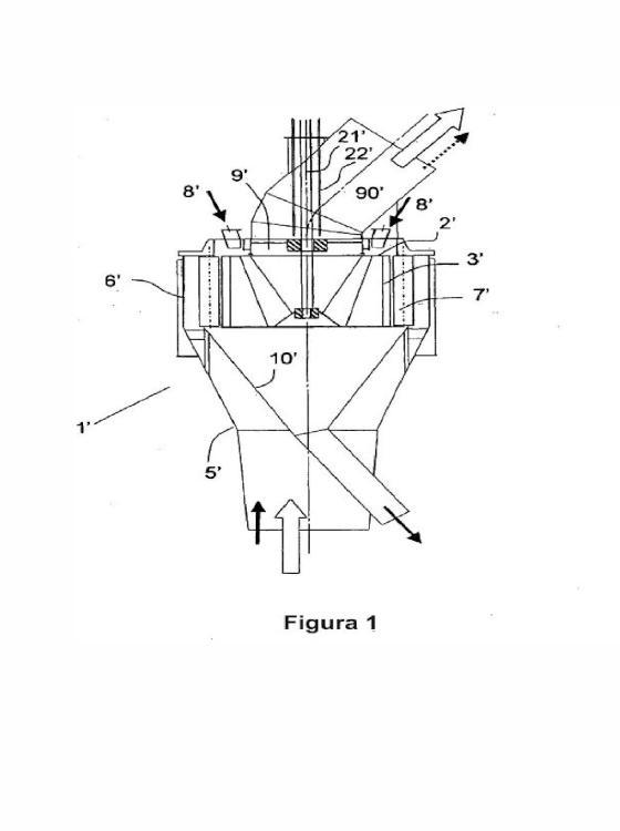 Dispositivo de separación granulométrica selectiva de materiales pulverulentos sólidos, de acción centrífuga, y procedimiento de utilización de un dispositivo de este tipo.