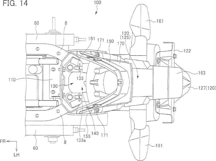 Estructura de porción trasera de motocicleta.
