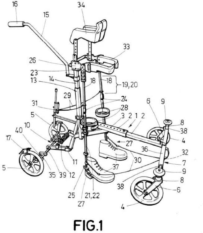 Apoyos provistos de ruedas para ayudar a caminar a enfermos…