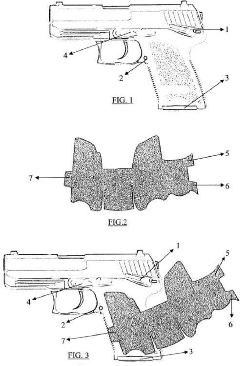 Empuñadura antideslizante adhesiva para armas cortas de fuego.
